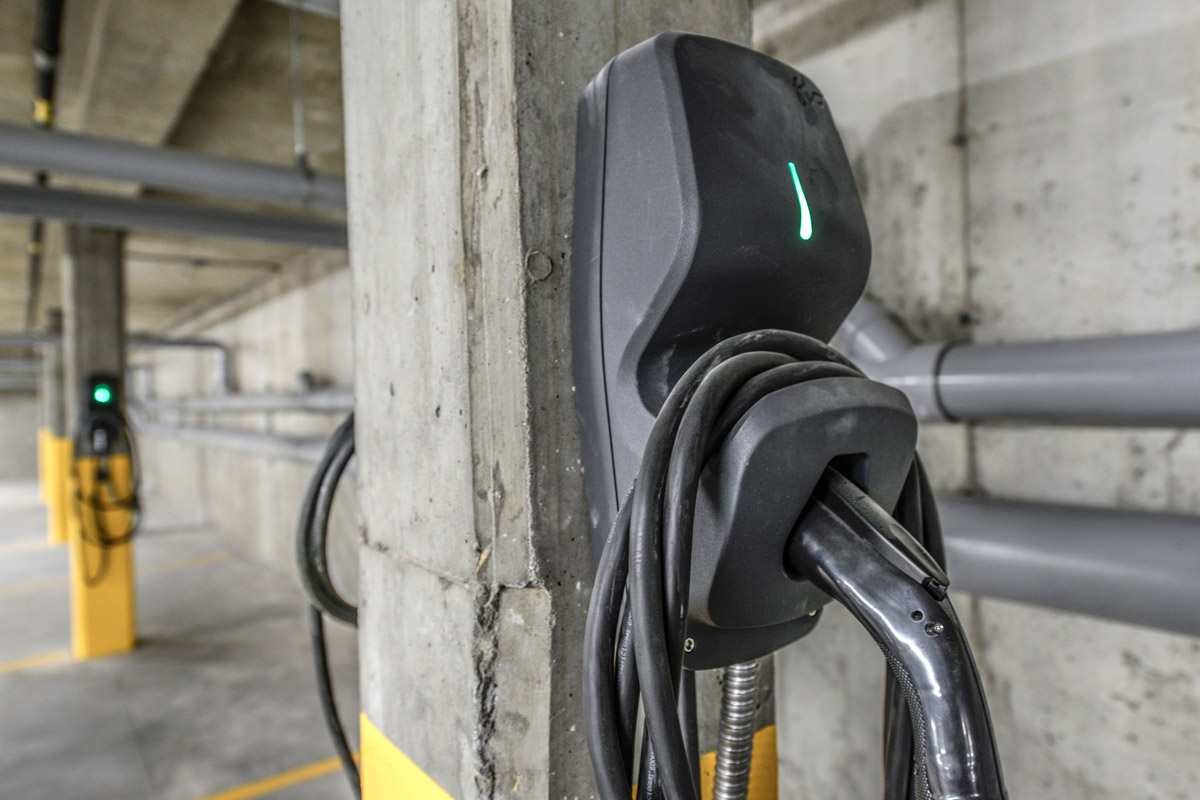 Parking with a charging station for electric vehicles